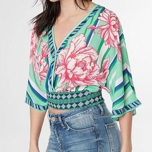 Flying Tomato Surplice Cropped Mint Floral SS Top